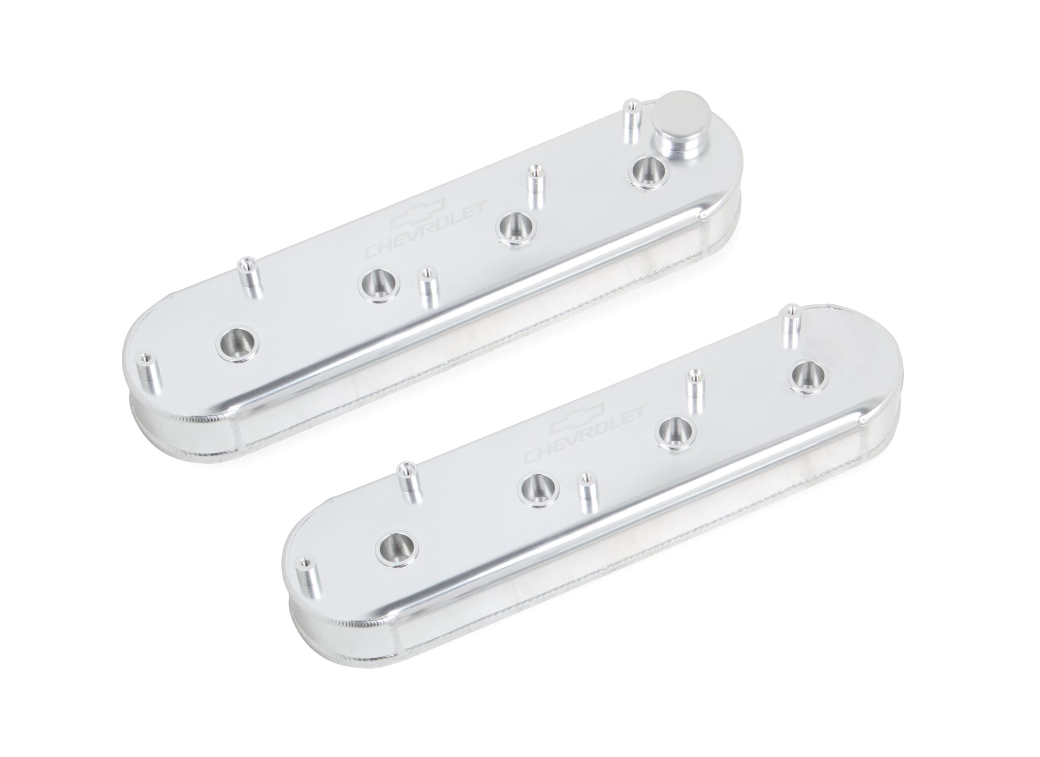 GM Track Series Fabricated Aluminum Valve Cover w/OEM Coil Stands, Silver,  GM LS engines